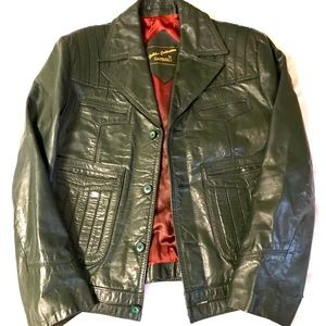 Vintage green leather jacket Raffaelo 1970s